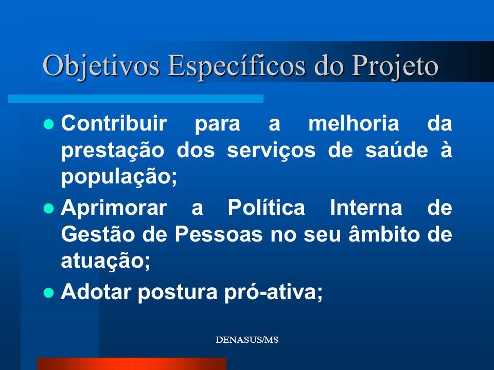 DENASUS/MS Contribuir para a melhoria da prestação dos serviços de saúde à população; Aprimorar a Política Interna de Gestão de Pessoas no seu âmbito