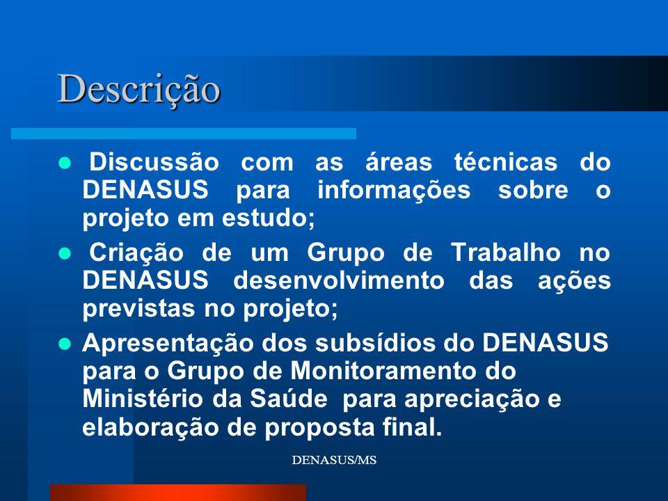 DENASUS/MS Descrição Discussão com as áreas técnicas do DENASUS para informações sobre o projeto em estudo; Criação de um Grupo de Trabalho no DENASUS