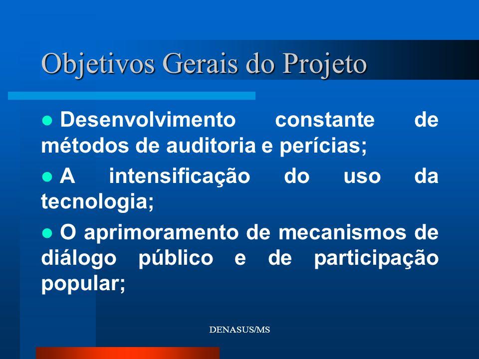 DENASUS/MS Objetivos Gerais do Projeto Desenvolvimento constante de métodos de auditoria e perícias; A intensificação do uso da tecnologia; O aprimora