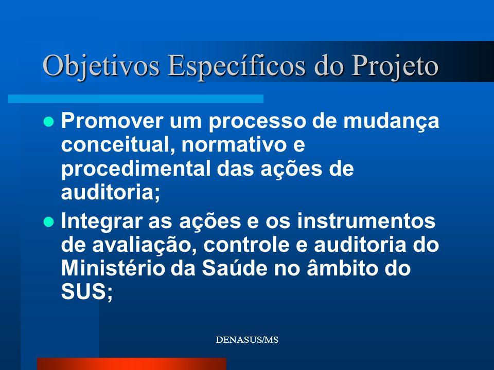 DENASUS/MS Objetivos Específicos do Projeto Promover um processo de mudança conceitual, normativo e procedimental das ações de auditoria; Integrar as