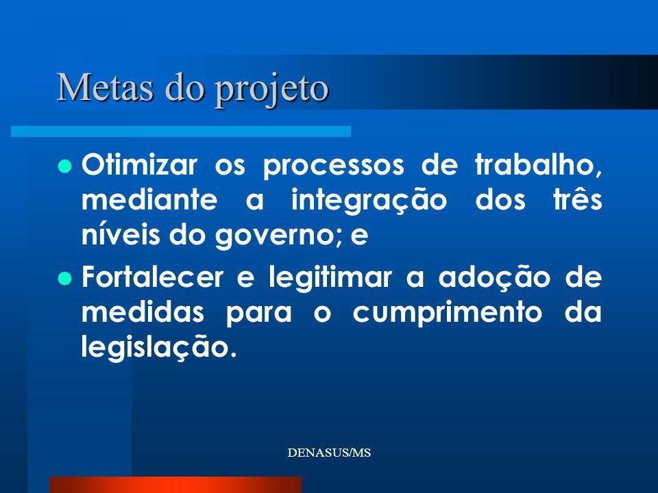 DENASUS/MS Otimizar os processos de trabalho, mediante a integração dos três níveis do governo; e Fortalecer e legitimar a adoção de medidas para o cumprimento da legislação.