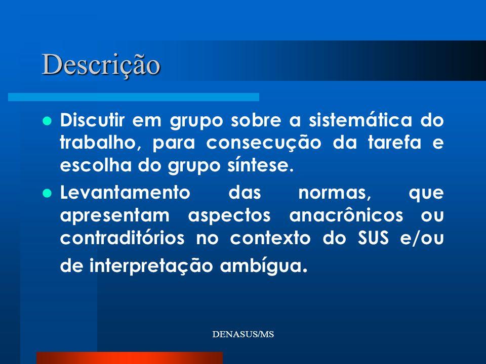 DENASUS/MS Descrição Discutir em grupo sobre a sistemática do trabalho, para consecução da tarefa e escolha do grupo síntese. Levantamento das normas,
