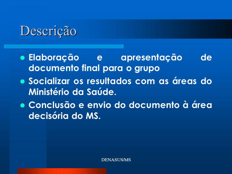 DENASUS/MS Elaboração e apresentação de documento final para o grupo Socializar os resultados com as áreas do Ministério da Saúde. Conclusão e envio d