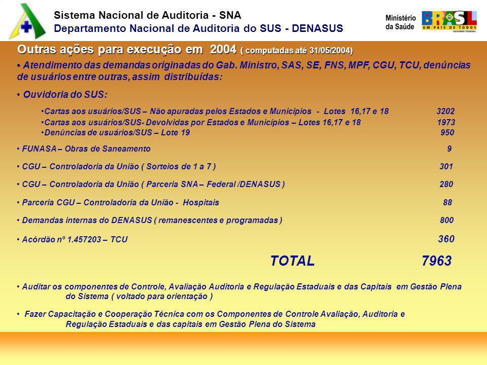 Sistema Nacional de Auditoria - SNA Departamento Nacional de Auditoria do SUS - DENASUS Outras ações para execução em 2004 ( computadas até 31/05/2004) Atendimento das demandas originadas do Gab.