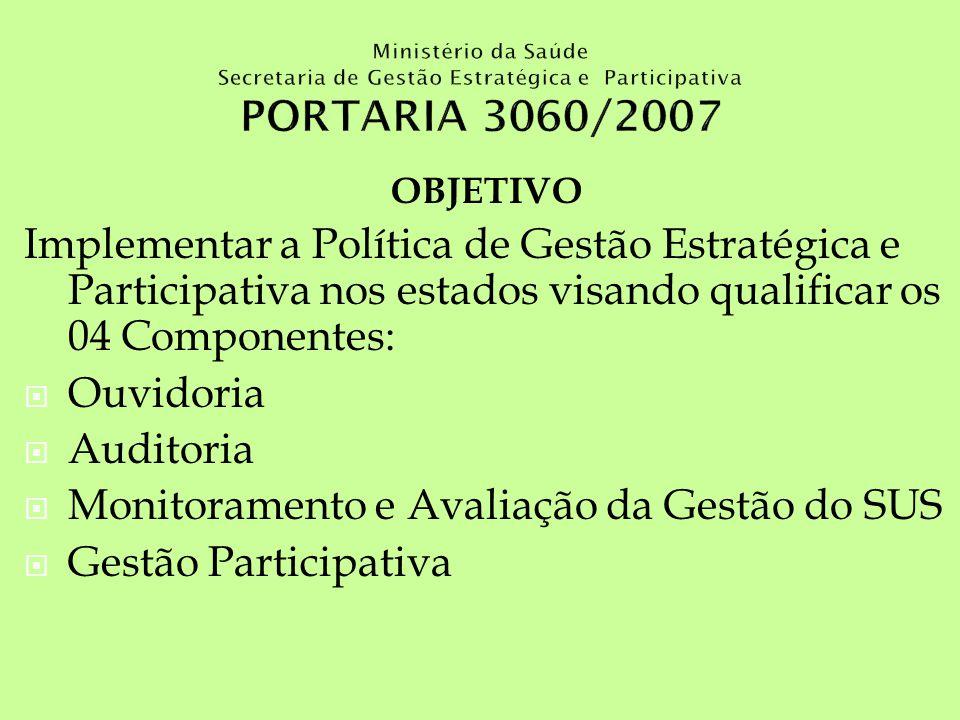 OBJETIVO Implementar a Política de Gestão Estratégica e Participativa nos estados visando qualificar os 04 Componentes: Ouvidoria Auditoria Monitorame