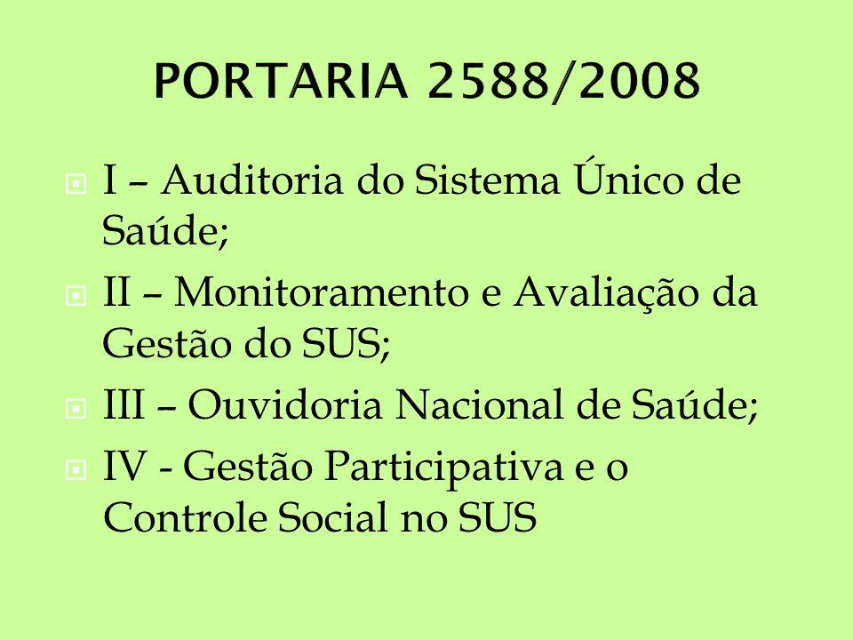 I – Auditoria do Sistema Único de Saúde; II – Monitoramento e Avaliação da Gestão do SUS; III – Ouvidoria Nacional de Saúde; IV - Gestão Participativa e o Controle Social no SUS