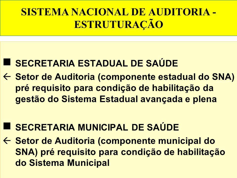 SISTEMA NACIONAL DE AUDITORIA - ESTRUTURAÇÃO DO SNA MINISTÉRIO DA SAÚDE - componente federal do SNA Departamento Nacional de Auditoria do SUS (órgão c