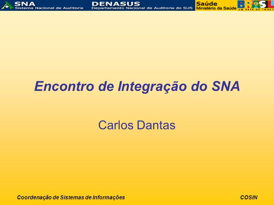 Coordenação de Sistemas de InformaçõesCOSIN Encontro de Integração do SNA Carlos Dantas