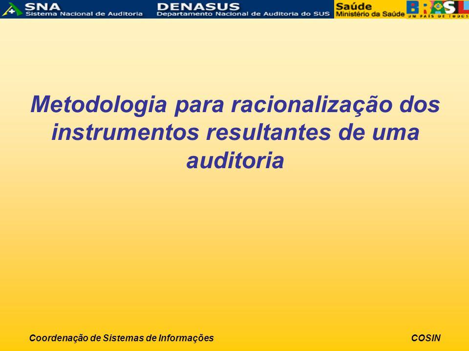 Coordenação de Sistemas de InformaçõesCOSIN Metodologia para racionalização dos instrumentos resultantes de uma auditoria