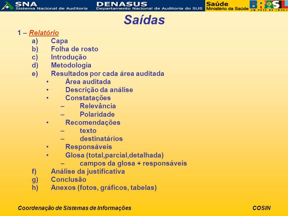 Coordenação de Sistemas de InformaçõesCOSIN Saídas 1 – Relatório a)Capa b)Folha de rosto c)Introdução d)Metodologia e)Resultados por cada área auditad