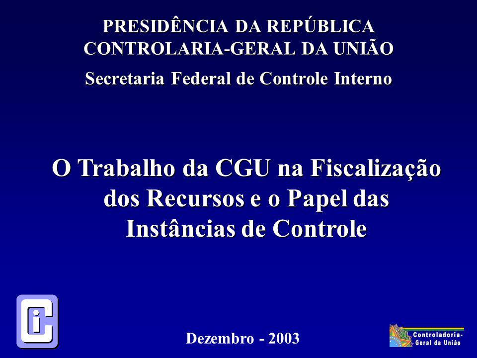PRESIDÊNCIA DA REPÚBLICA CONTROLARIA-GERAL DA UNIÃO Secretaria Federal de Controle Interno O Trabalho da CGU na Fiscalização dos Recursos e o Papel das Instâncias de Controle Dezembro - 2003