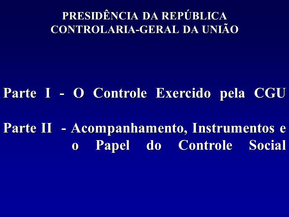 PRESIDÊNCIA DA REPÚBLICA CONTROLARIA-GERAL DA UNIÃO Parte I - O Controle Exercido pela CGU Parte II - Acompanhamento, Instrumentos e o Papel do Controle Social