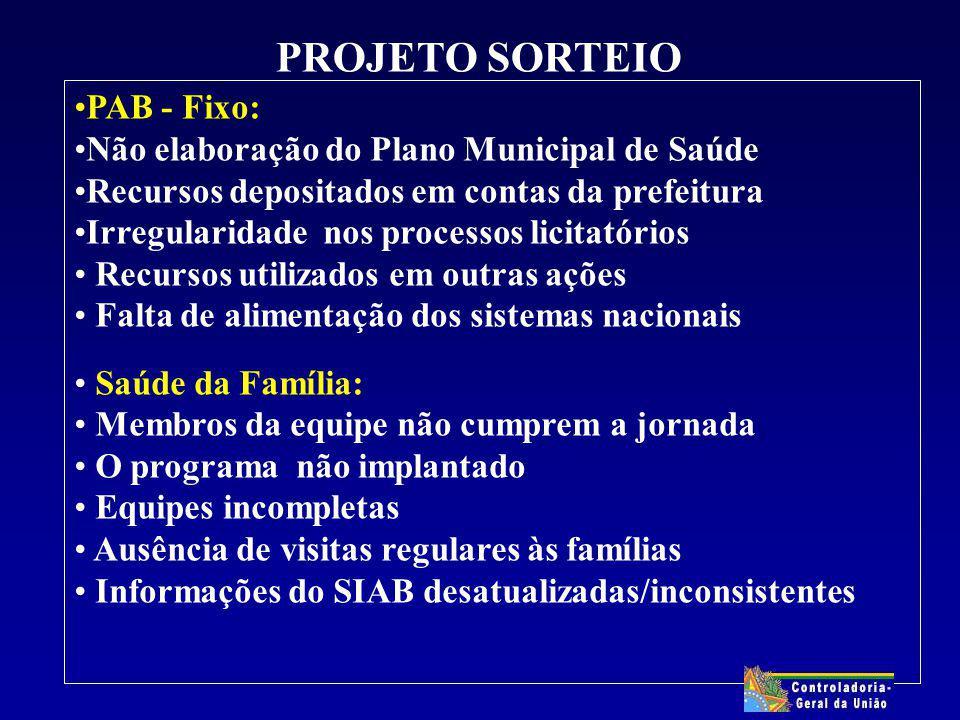 PROJETO SORTEIO PAB - Fixo: Não elaboração do Plano Municipal de Saúde Recursos depositados em contas da prefeitura Irregularidade nos processos licit