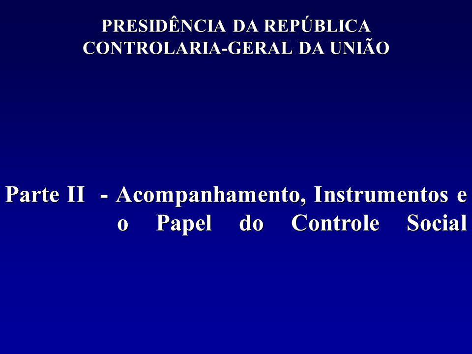 PRESIDÊNCIA DA REPÚBLICA CONTROLARIA-GERAL DA UNIÃO Parte II - Acompanhamento, Instrumentos e o Papel do Controle Social