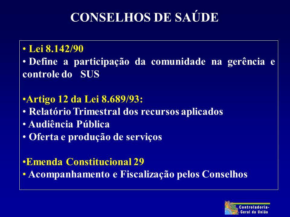 CONSELHOS DE SAÚDE Lei 8.142/90 Define a participação da comunidade na gerência e controle do SUS Artigo 12 da Lei 8.689/93: Relatório Trimestral dos