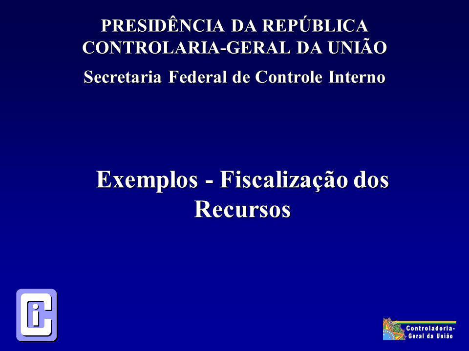 PRESIDÊNCIA DA REPÚBLICA CONTROLARIA-GERAL DA UNIÃO Secretaria Federal de Controle Interno Exemplos - Fiscalização dos Recursos