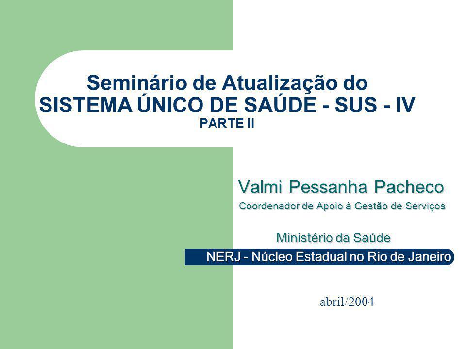 Seminário de Atualização do SISTEMA ÚNICO DE SAÚDE - SUS - IV PARTE II abril/2004