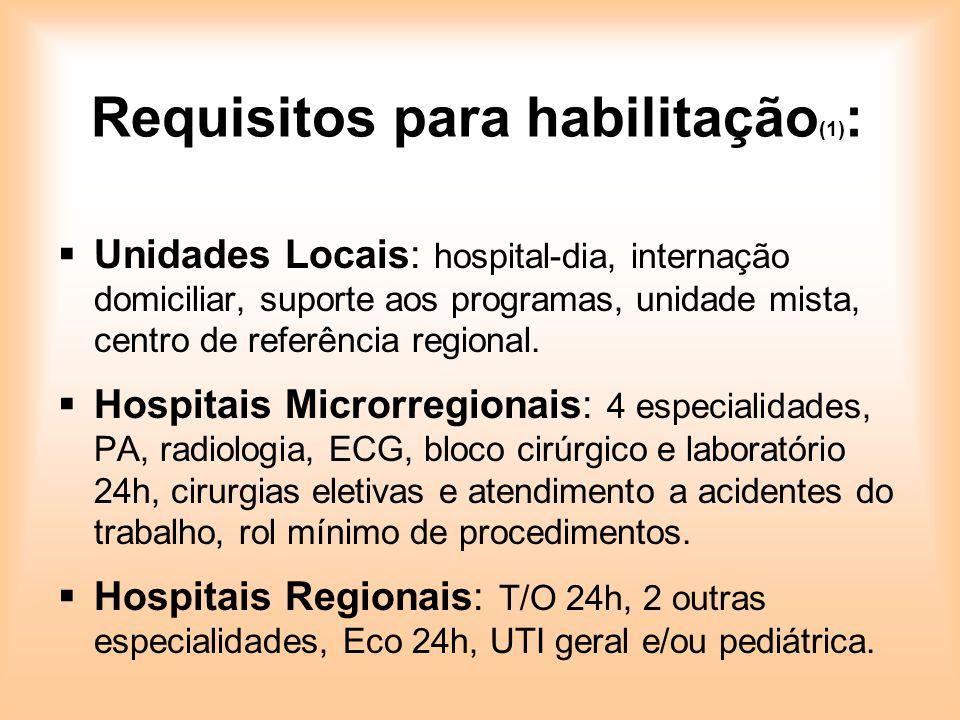Requisitos para habilitação (1) : Unidades Locais: hospital-dia, internação domiciliar, suporte aos programas, unidade mista, centro de referência reg