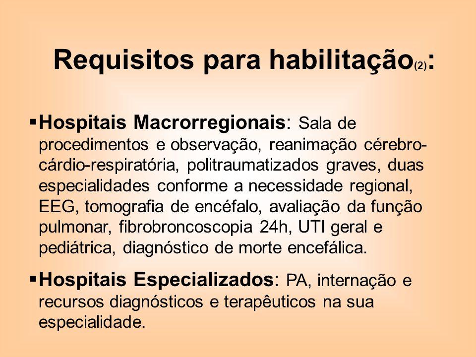 Requisitos para habilitação (2) : Hospitais Macrorregionais: Sala de procedimentos e observação, reanimação cérebro- cárdio-respiratória, politraumati