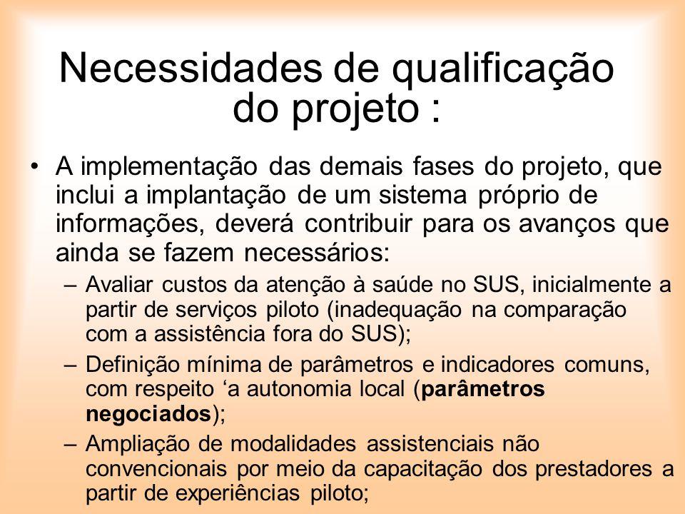 Necessidades de qualificação do projeto : A implementação das demais fases do projeto, que inclui a implantação de um sistema próprio de informações,