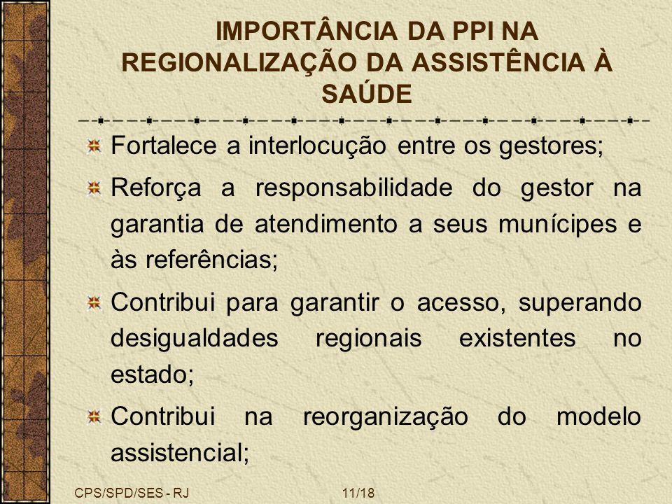 CPS/SPD/SES - RJ11/18 IMPORTÂNCIA DA PPI NA REGIONALIZAÇÃO DA ASSISTÊNCIA À SAÚDE Fortalece a interlocução entre os gestores; Reforça a responsabilida