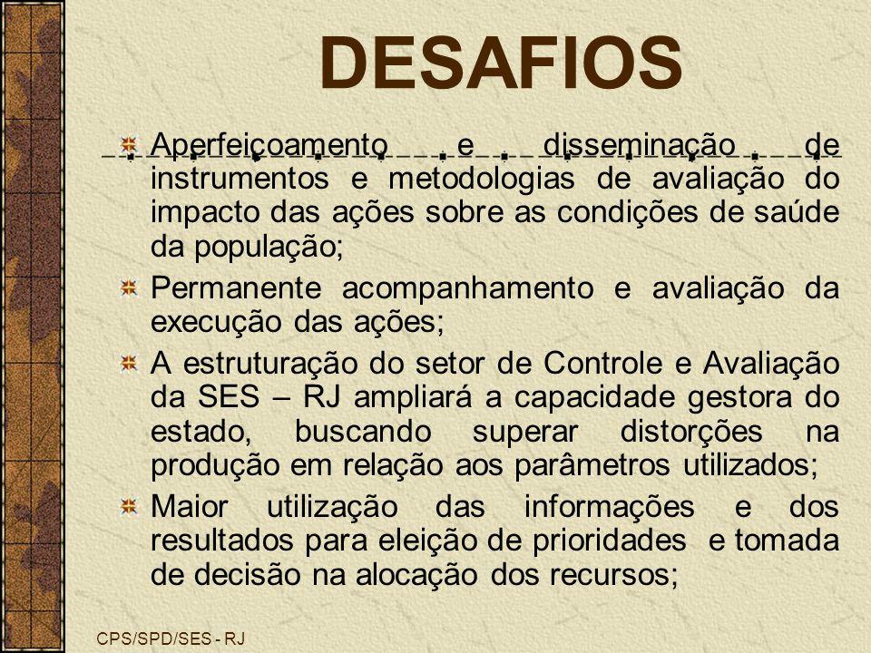 CPS/SPD/SES - RJ DESAFIOS Aperfeiçoamento e disseminação de instrumentos e metodologias de avaliação do impacto das ações sobre as condições de saúde