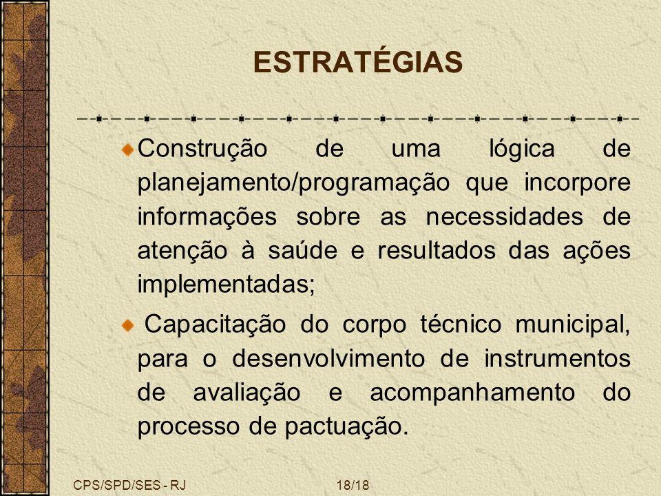 CPS/SPD/SES - RJ18/18 ESTRATÉGIAS Construção de uma lógica de planejamento/programação que incorpore informações sobre as necessidades de atenção à sa