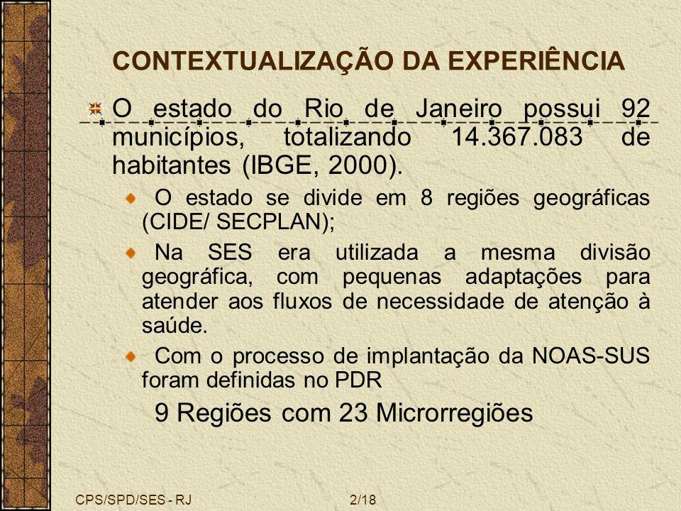 CPS/SPD/SES - RJ2/18 CONTEXTUALIZAÇÃO DA EXPERIÊNCIA O estado do Rio de Janeiro possui 92 municípios, totalizando 14.367.083 de habitantes (IBGE, 2000
