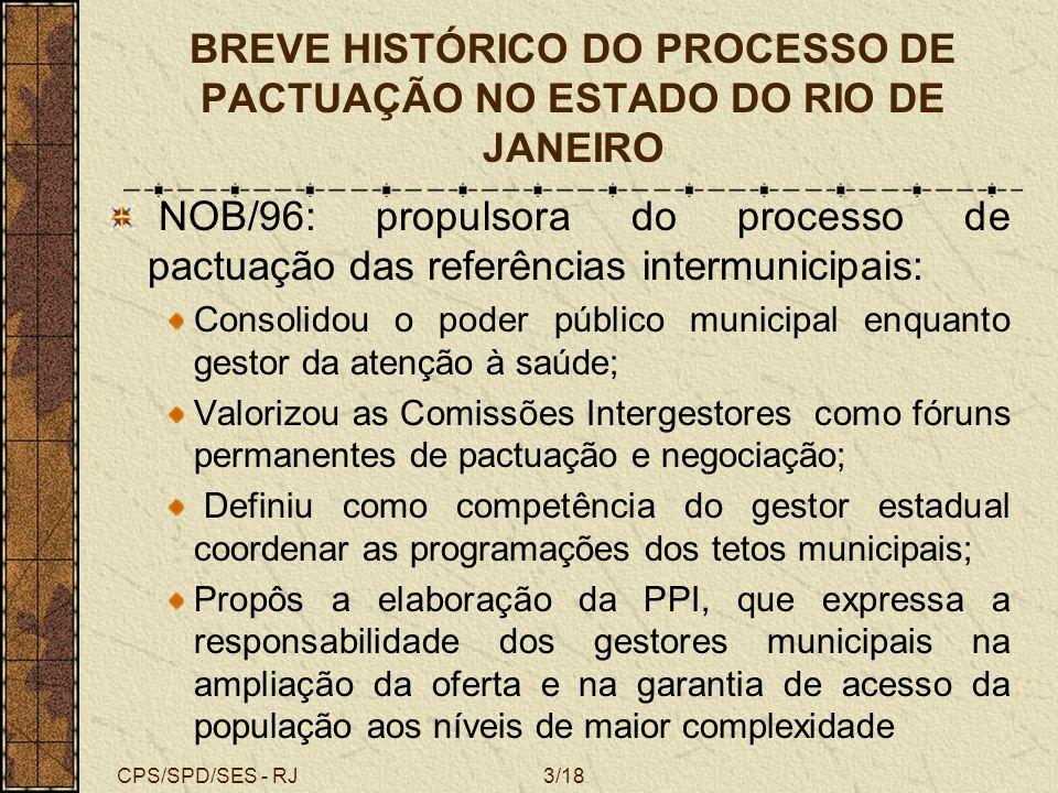 CPS/SPD/SES - RJ3/18 BREVE HISTÓRICO DO PROCESSO DE PACTUAÇÃO NO ESTADO DO RIO DE JANEIRO NOB/96: propulsora do processo de pactuação das referências