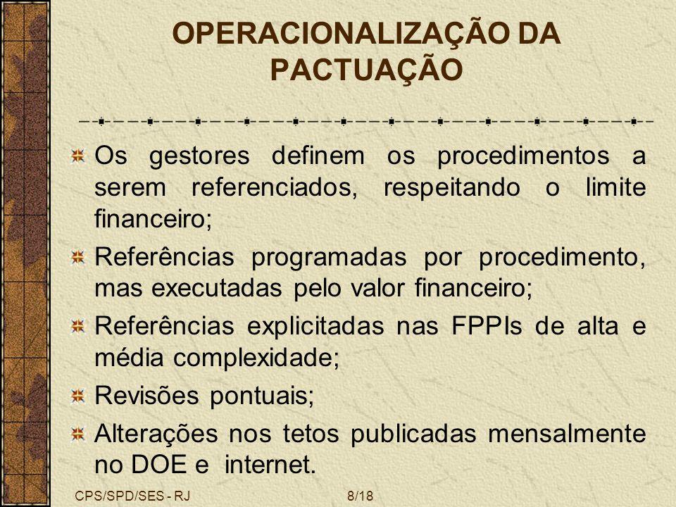CPS/SPD/SES - RJ9/18 RESULTADOS ALCANÇADOS Reativação da Comissão PPI; Atualização dos parâmetros de programação; Após diversos estudos foi definido pela utilização dos parâmetros da PT/GM/MS 1101 de 06/ 2002; Reorganização das referências intermunicipais buscando a regionalização e a hierarquização da assistência ambulatorial no âmbito da NOAS.