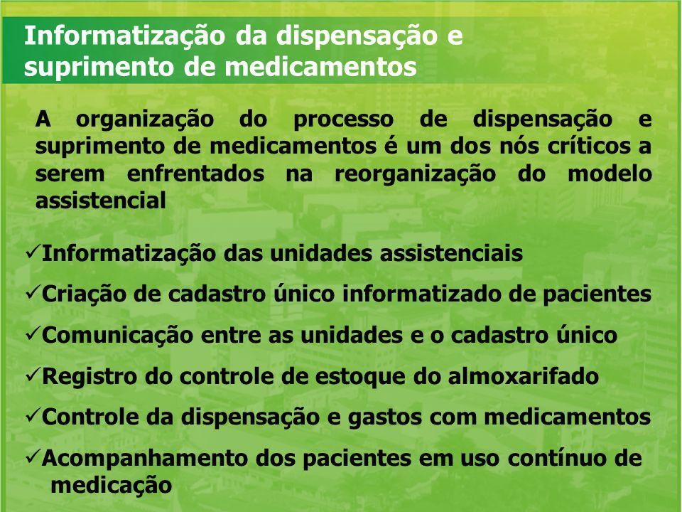 Informatização da dispensação e suprimento de medicamentos A organização do processo de dispensação e suprimento de medicamentos é um dos nós críticos