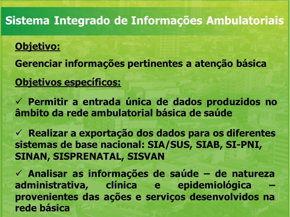 Objetivo: Gerenciar informações pertinentes a atenção básica Objetivos específicos: Permitir a entrada única de dados produzidos no âmbito da rede amb