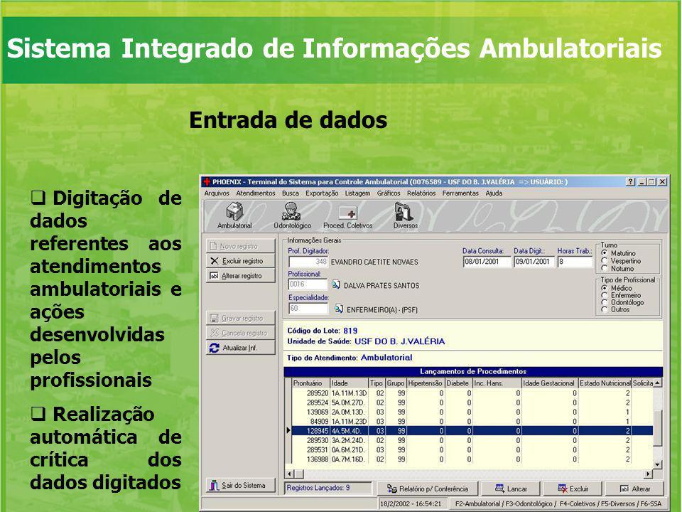 Entrada de dados Digitação de dados referentes aos atendimentos ambulatoriais e ações desenvolvidas pelos profissionais Realização automática de críti