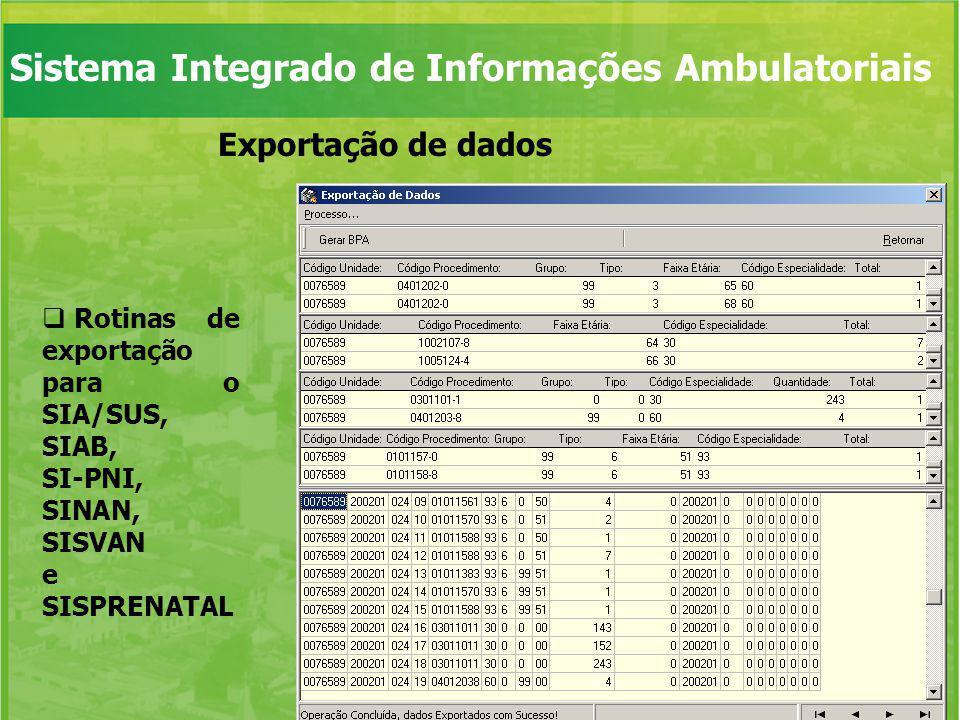 Sistema Integrado de Informações Ambulatoriais Geração de relatórios Relatórios pré-formatados Gráficos padronizados Geração de relatórios personalizados a partir de variáveis previamente definidas