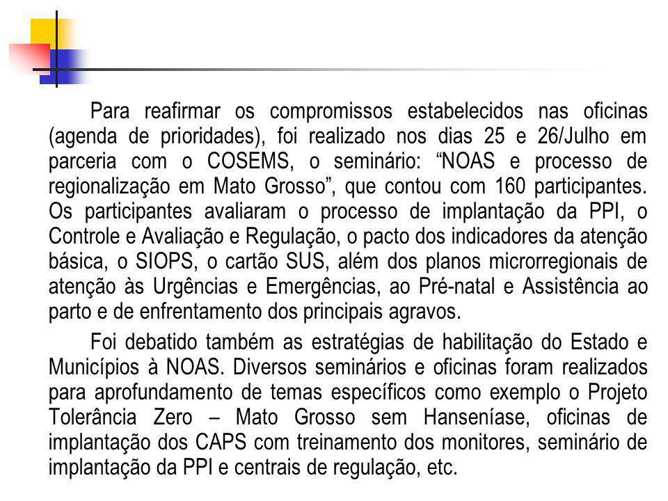 Para reafirmar os compromissos estabelecidos nas oficinas (agenda de prioridades), foi realizado nos dias 25 e 26/Julho em parceria com o COSEMS, o se