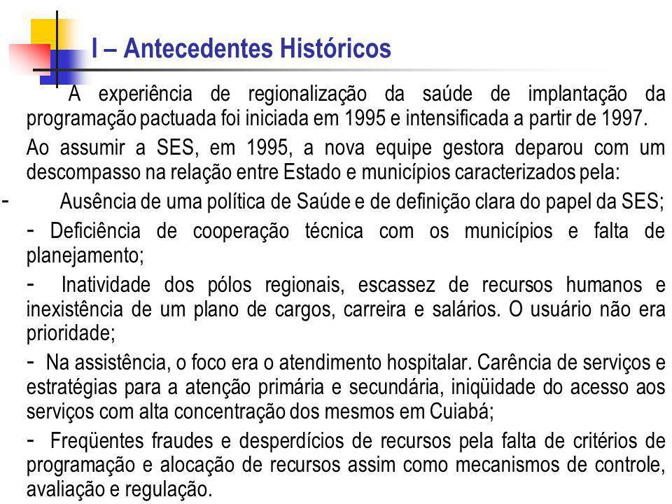 I – Antecedentes Históricos A experiência de regionalização da saúde de implantação da programação pactuada foi iniciada em 1995 e intensificada a par