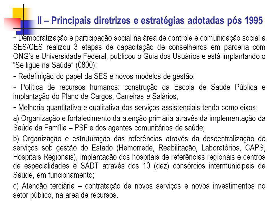 II – Principais diretrizes e estratégias adotadas pós 1995 - Democratização e participação social na área de controle e comunicação social a SES/CES r