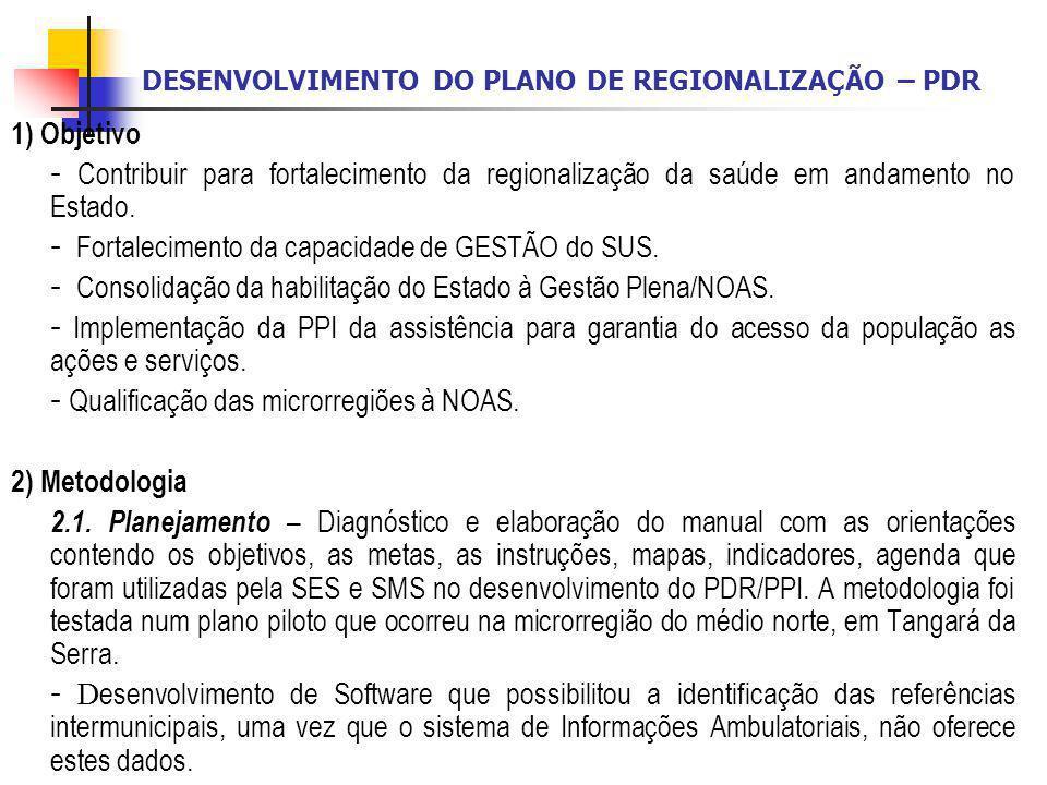 DESENVOLVIMENTO DO PLANO DE REGIONALIZAÇÃO – PDR 1) Objetivo - Contribuir para fortalecimento da regionalização da saúde em andamento no Estado. - For