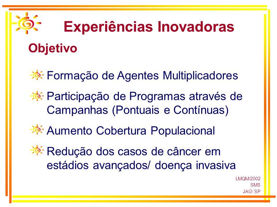 LMQM/2002 SMS JAÚ/ SP Experiências Inovadoras Objetivo Formação de Agentes Multiplicadores Participação de Programas através de Campanhas (Pontuais e