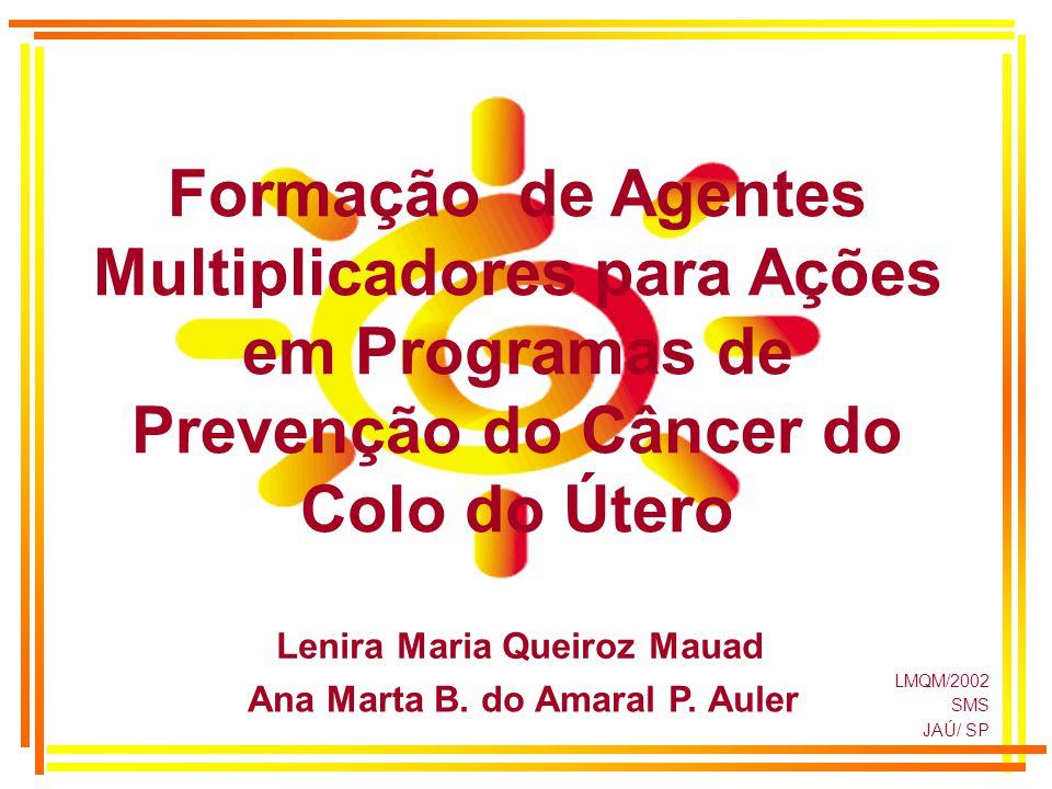 LMQM/2002 SMS JAÚ/ SP Lenira Maria Queiroz Mauad Ana Marta B. do Amaral P. Auler Formação de Agentes Multiplicadores para Ações em Programas de Preven