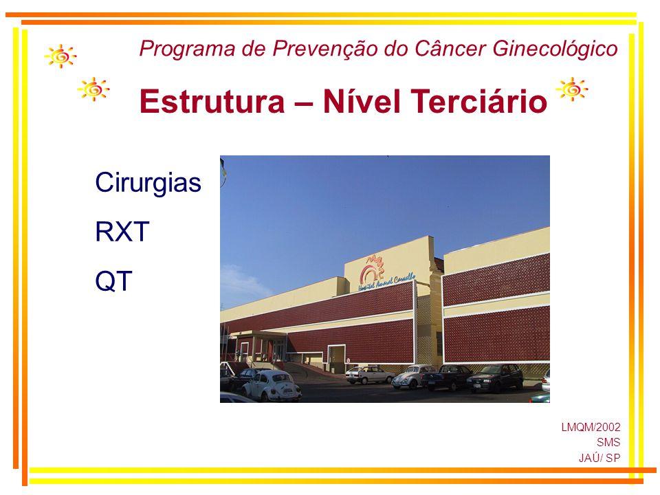 LMQM/2002 SMS JAÚ/ SP Programa de Prevenção do Câncer Ginecológico Estrutura – Nível Terciário Cirurgias RXT QT