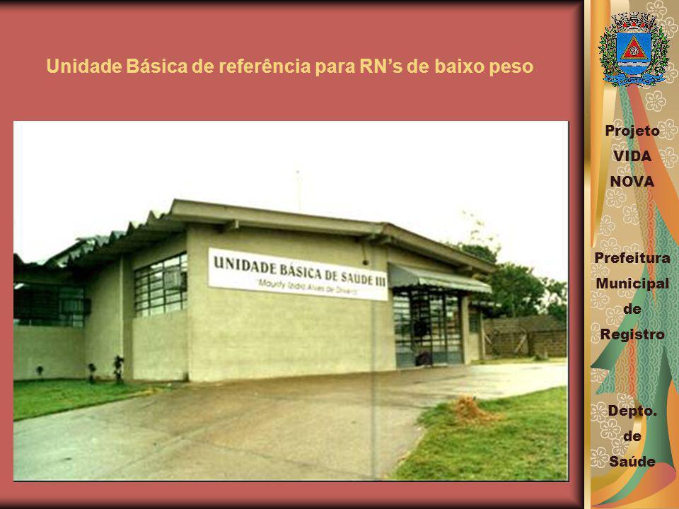 Unidade Básica de referência para RNs de baixo peso Projeto VIDA NOVA Prefeitura Municipal de Registro Depto.