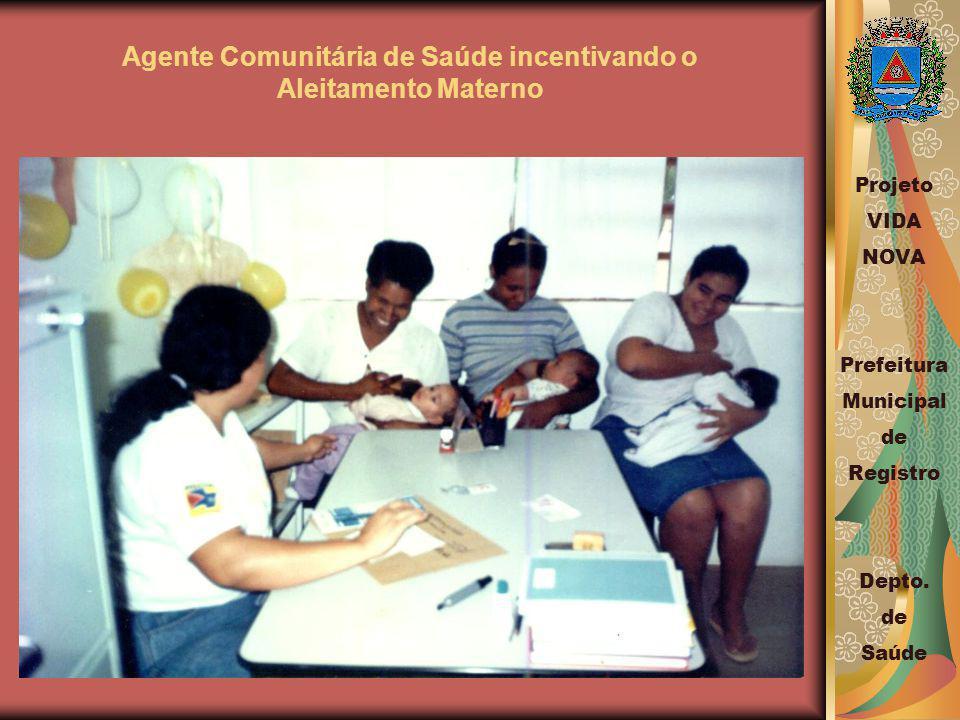Agente Comunitária de Saúde incentivando o Aleitamento Materno Projeto VIDA NOVA Prefeitura Municipal de Registro Depto.