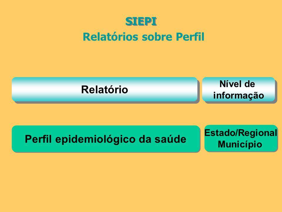 Relatórios sobre Perfil Relatório Nível de informação Nível de informação SIEPI Perfil epidemiológico da saúde Estado/Regional Município Estado/Region