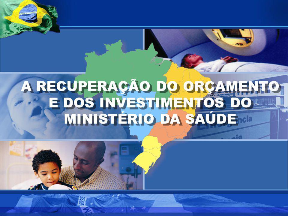A RECUPERAÇÃO DO ORÇAMENTO E DOS INVESTIMENTOS DO MINISTÉRIO DA SAÚDE A RECUPERAÇÃO DO ORÇAMENTO E DOS INVESTIMENTOS DO MINISTÉRIO DA SAÚDE