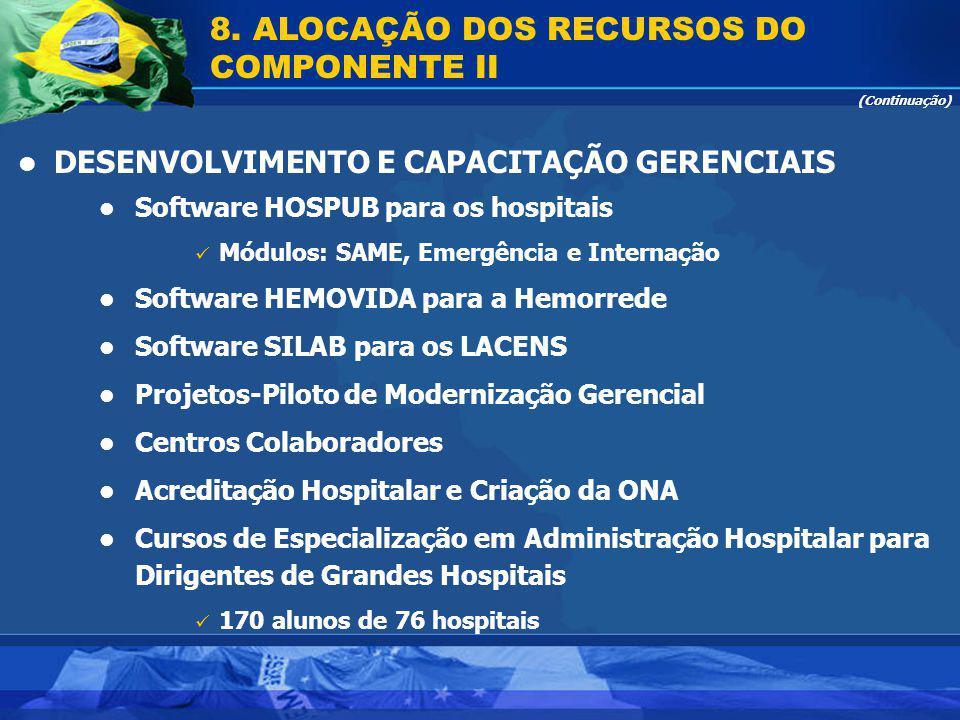 (Continuação) Software HOSPUB para os hospitais Módulos: SAME, Emergência e Internação Software HEMOVIDA para a Hemorrede Software SILAB para os LACEN