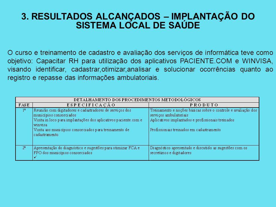 3. RESULTADOS ALCANÇADOS – IMPLANTAÇÃO DO SISTEMA LOCAL DE SAÚDE O curso e treinamento de cadastro e avaliação dos serviços de informática teve como o