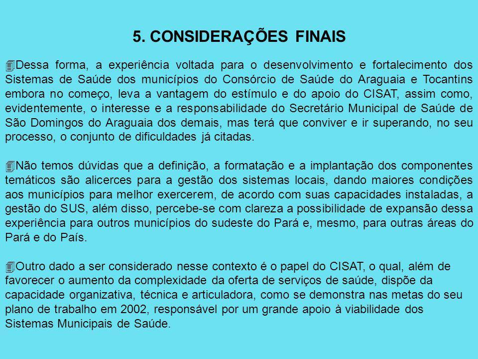 5. CONSIDERAÇÕES FINAIS 4Dessa forma, a experiência voltada para o desenvolvimento e fortalecimento dos Sistemas de Saúde dos municípios do Consórcio