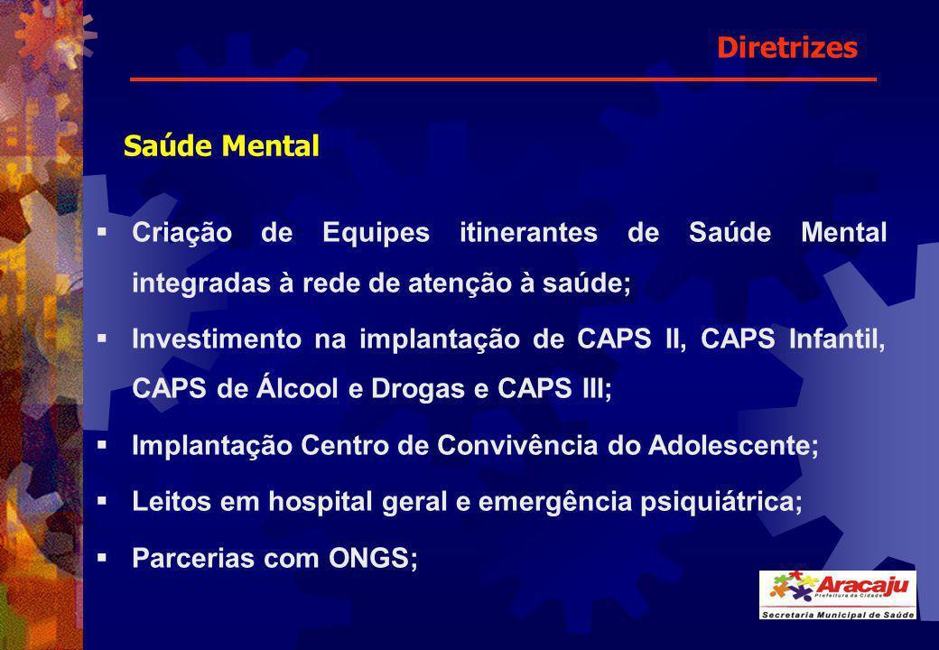Saúde Mental Criação de Equipes itinerantes de Saúde Mental integradas à rede de atenção à saúde; Investimento na implantação de CAPS II, CAPS Infanti