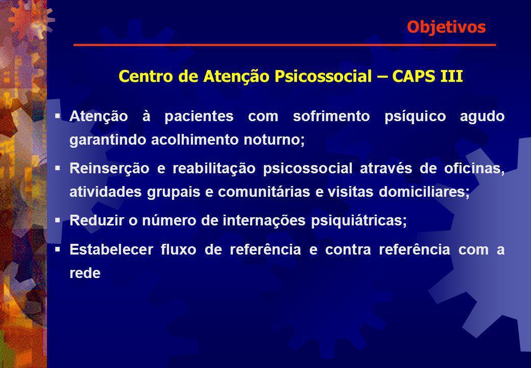 Atenção à pacientes com sofrimento psíquico agudo garantindo acolhimento noturno; Reinserção e reabilitação psicossocial através de oficinas, atividad